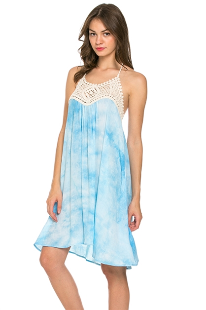 Tie-dye Crochet Halter Dress - orangeshine.com