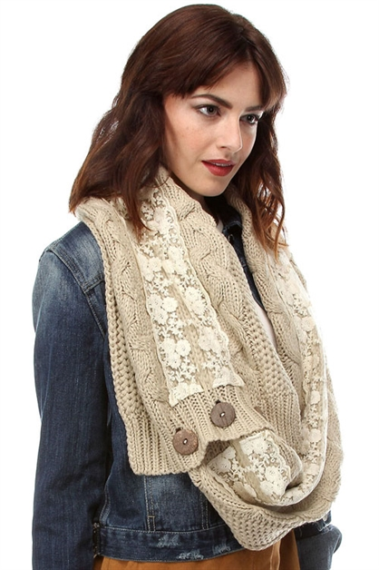 LACE SCARF WITH BUTTON CLOSE - orangeshine.com