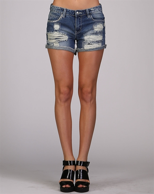 Stiched Denim Shorts - orangeshine.com