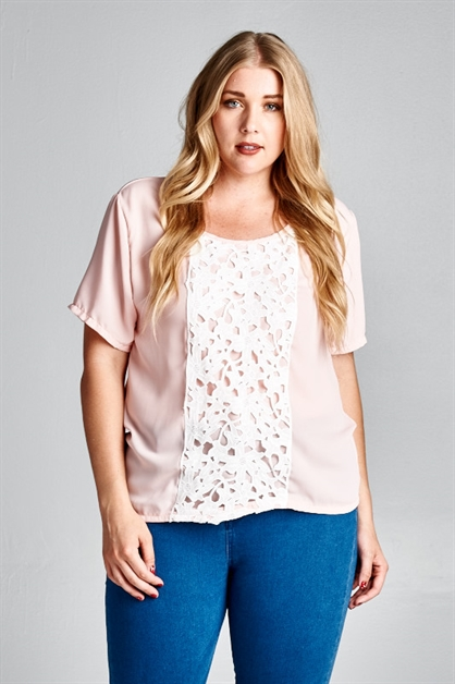 PLUS SIZE WOVEN TOP WITH LACE - orangeshine.com