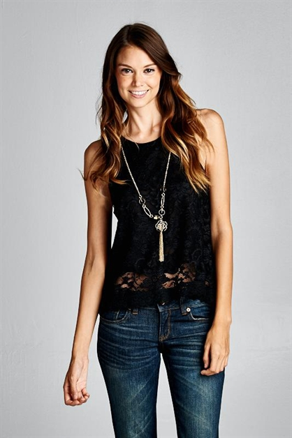 LACE TANK WITH NECKLACE - orangeshine.com