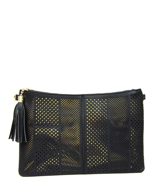 Cut-Outs Tassels Clutch - orangeshine.com