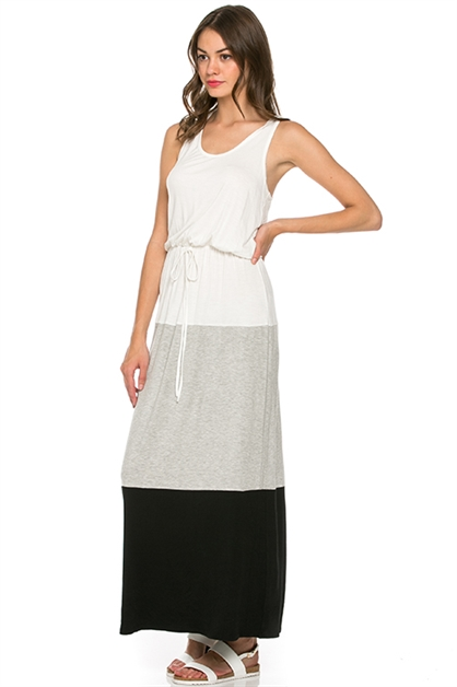 Color Block Tank Maxi Dress - orangeshine.com