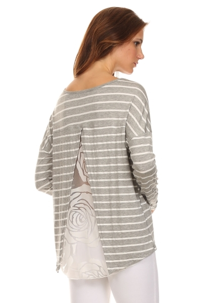 STRIPE WITH LACE BACK TOP - orangeshine.com