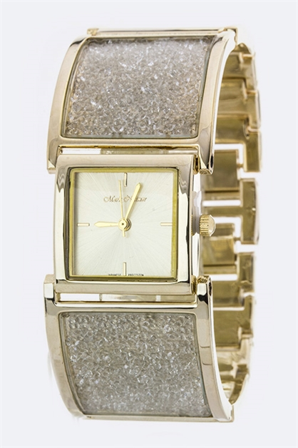 Floating Crystals Bangle Watch - orangeshine.com
