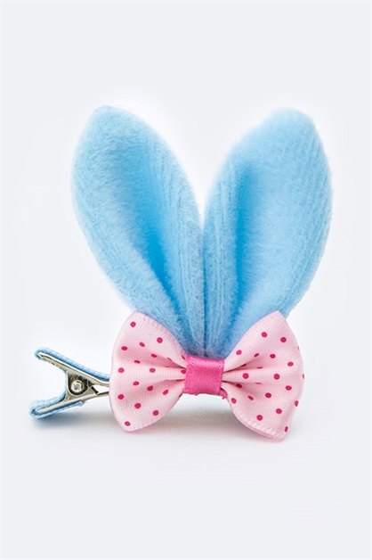 Bow Fluffy Bunny Ear Clip Pack - orangeshine.com