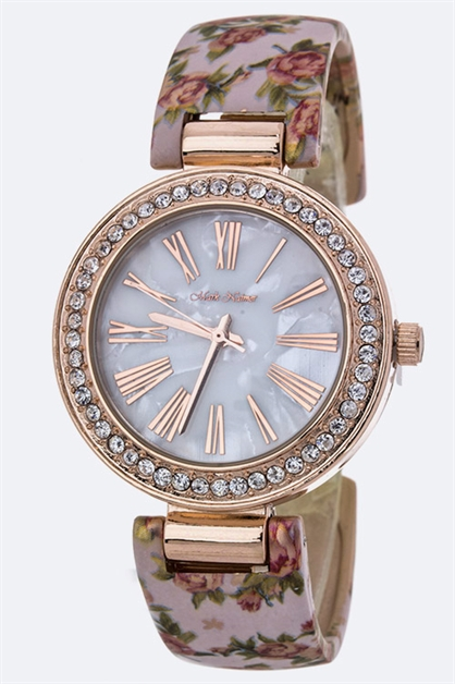 Rose Print Bangle Watch - orangeshine.com