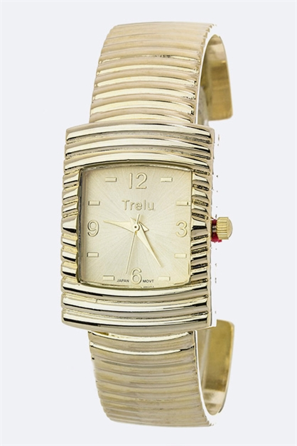 Notched Metal Bangle Watch - orangeshine.com