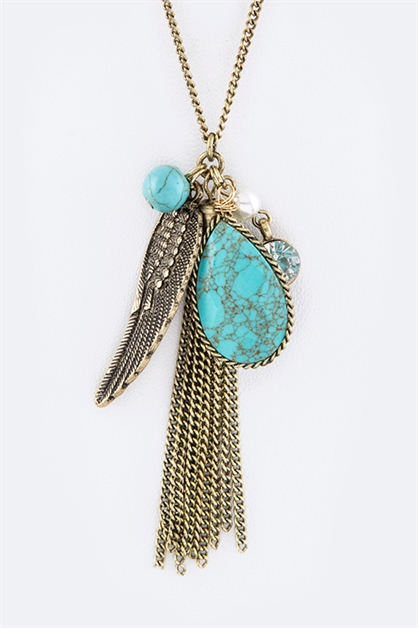 Feather Mix Charms Necklace - orangeshine.com