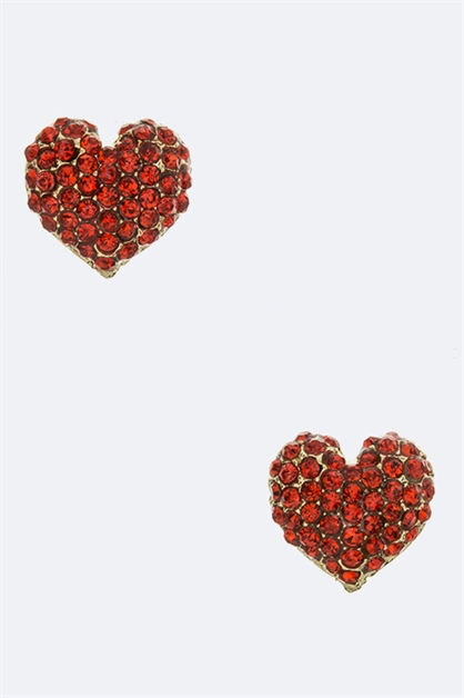Crystal Heart Stud Earrings - orangeshine.com