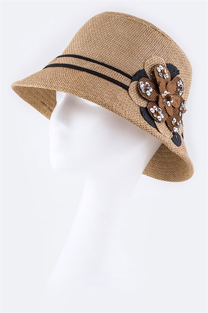 Lace  Bead Flower Straw Hat - orangeshine.com