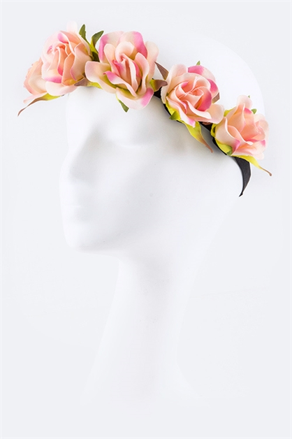 Pink Roses Stretch Headband - orangeshine.com