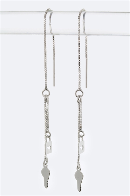 Lock Key Silver Earring - orangeshine.com
