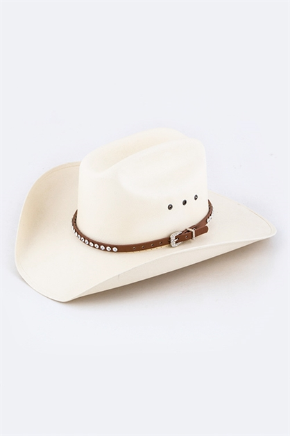 Crystal Studs Leather Hat Band - orangeshine.com