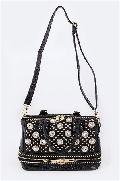 Crystal Studs Shoulder Bag  - orangeshine.com