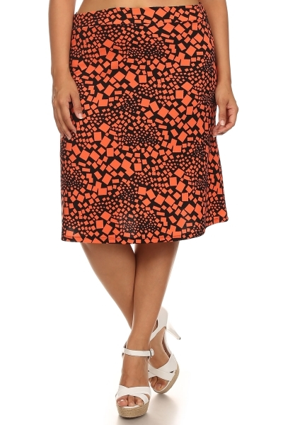 Geometric print skirt - orangeshine.com