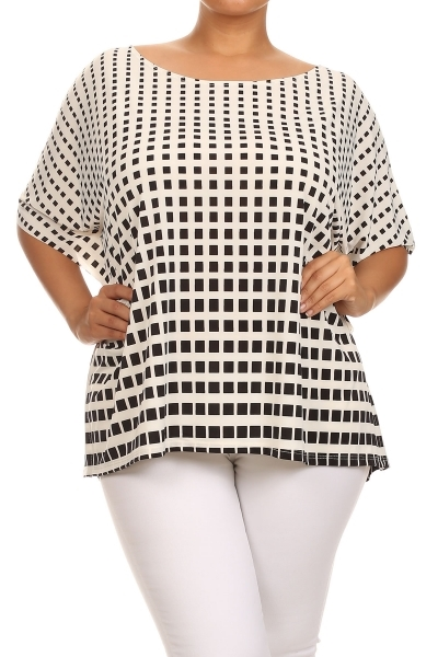 Checkered print loose fit top - orangeshine.com
