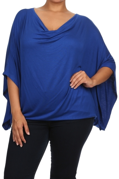 Cowl neck top w kimono sleeves - orangeshine.com