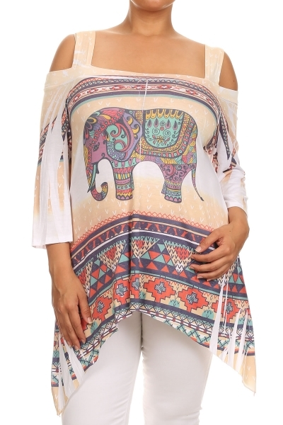 Cold shoulder printed tunic - orangeshine.com