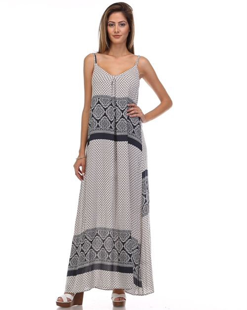 CREPON PRINT MAXI DRESS - orangeshine.com