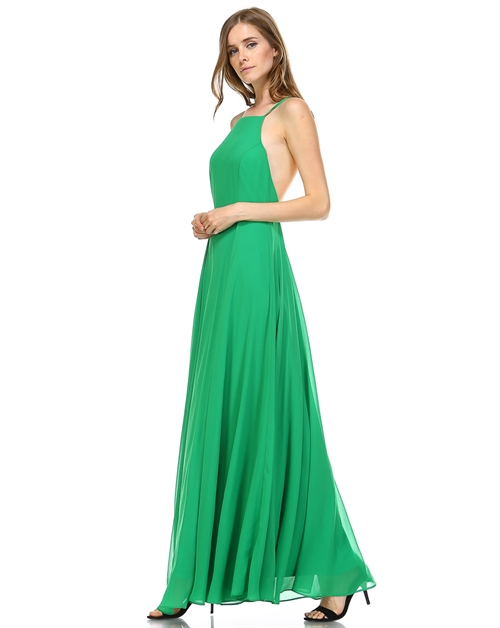 SOLID LINED MAXI DRESS - orangeshine.com