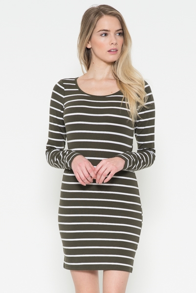 Long Sleeve Stripe Dress - orangeshine.com