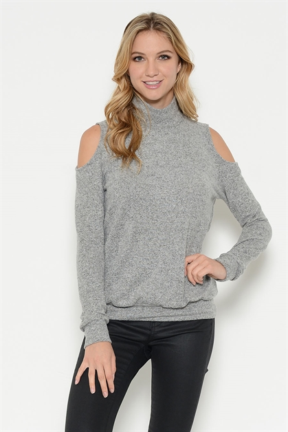 BRUSHED OPEN SHOULDER TOP - orangeshine.com