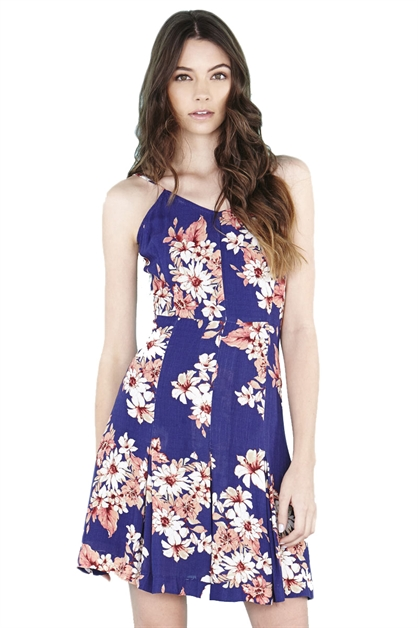 FLORAL PRINT FIT  FLARE DRESS - orangeshine.com