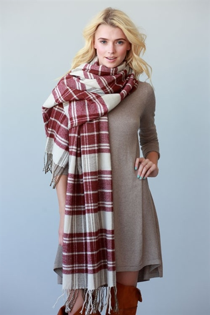 SOFT TWO TONE PLAID SCARF - orangeshine.com