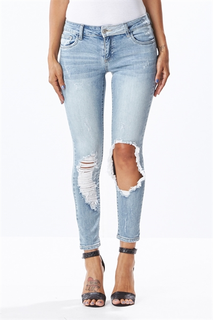 Destroyed Stretch Jeans - orangeshine.com