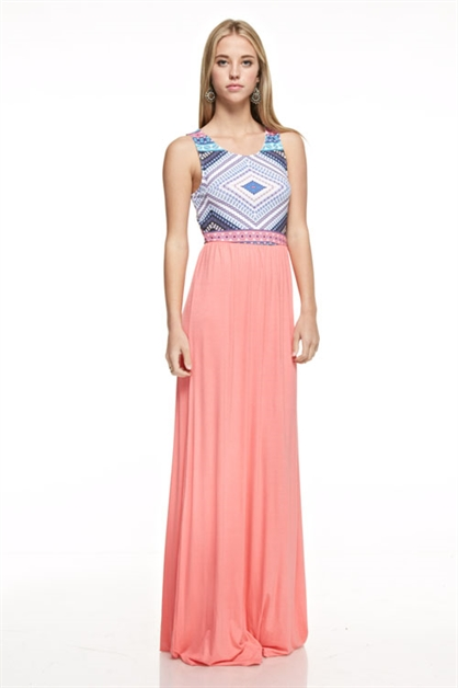 tribal print maxi dress - orangeshine.com