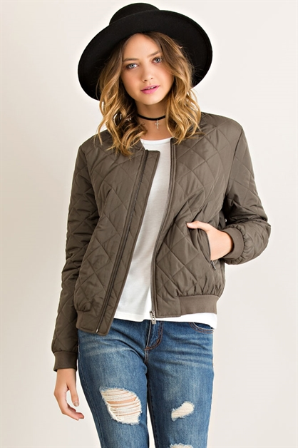 Quilted Military Puff Jacket - orangeshine.com