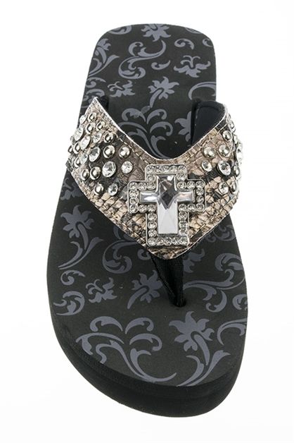 Crystal Cross Fashion FlipFlop - orangeshine.com