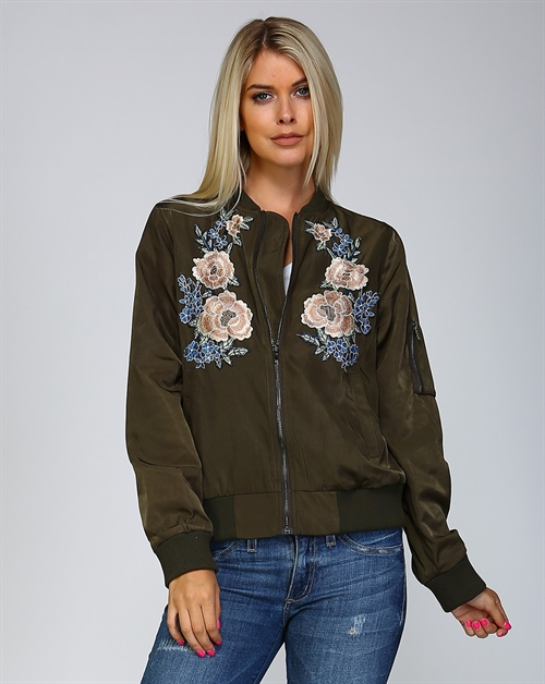 FLORAL APPLIQUE BOMBER JACKET - orangeshine.com