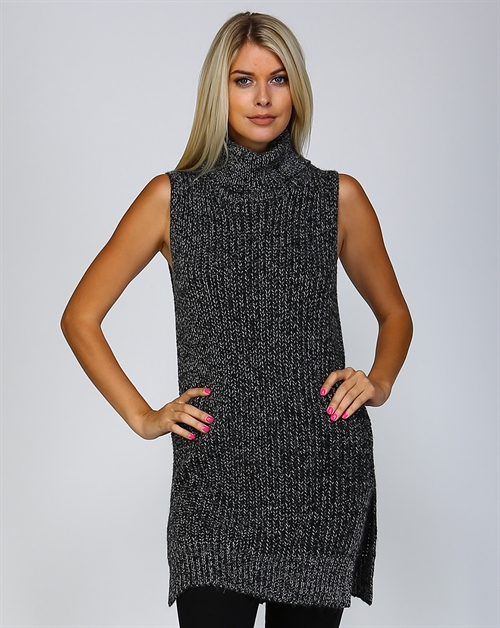 SLEEVELESS TURTLENECK SWEATER - orangeshine.com