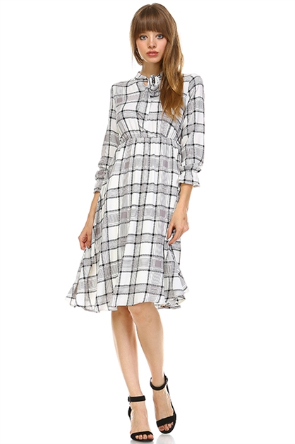 OFF WHITE PLAID DRESS - orangeshine.com