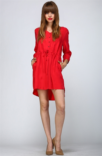 RED TIERED UNBALANCED DRESS - orangeshine.com