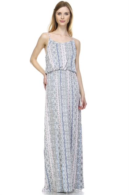 GREY PINK MAXI DRESS - orangeshine.com