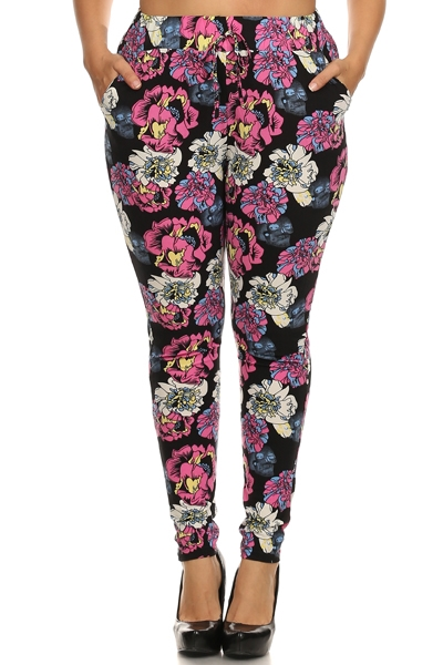 Plus Size Harem Pants Flowers - orangeshine.com