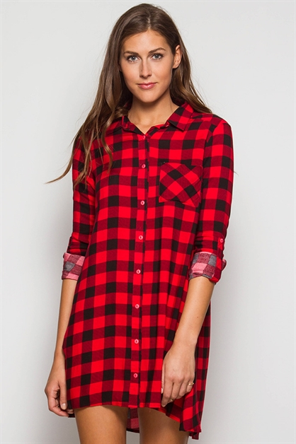 SL1044 GINGHAM PLAID DRESS - orangeshine.com