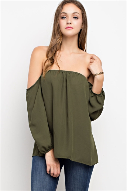 Off-Shoulder Chiffon Blouse - orangeshine.com