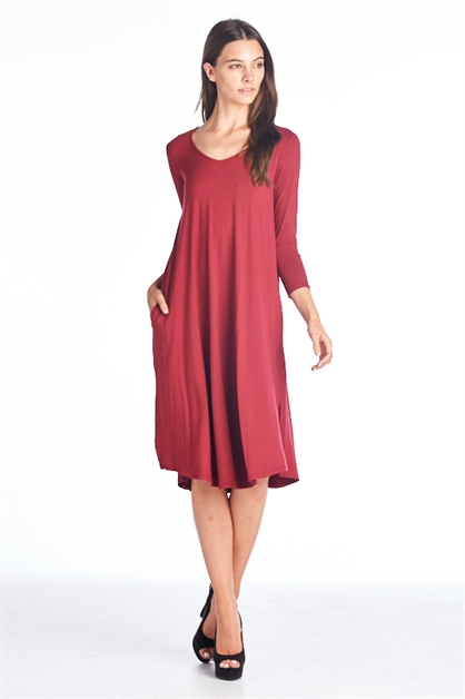 v-neck flared dress - orangeshine.com
