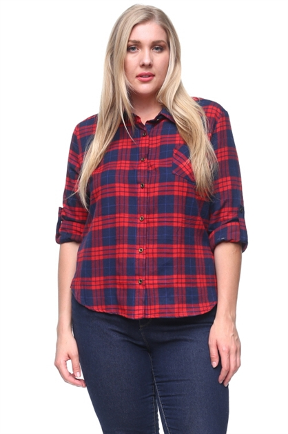 PLAID BUTTON UP SHIRT - orangeshine.com