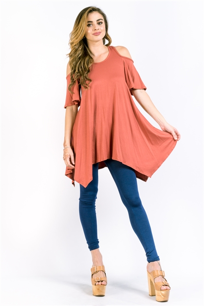 COLD SHOULDER KNIT TOP - orangeshine.com