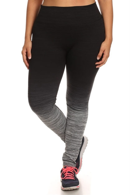 Plus Size Ombre Leggings Black - orangeshine.com