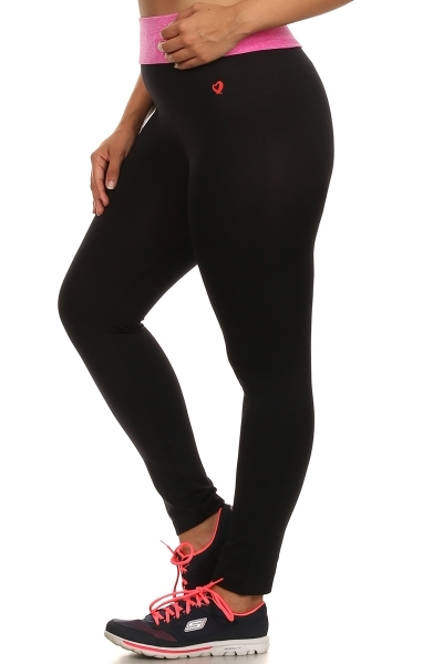 Plus Size Leggings Black pink - orangeshine.com