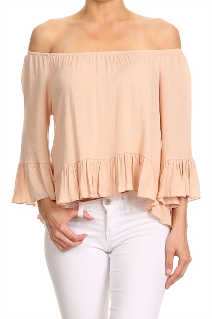 Ruffled Tops Nude Boat Neck US - orangeshine.com