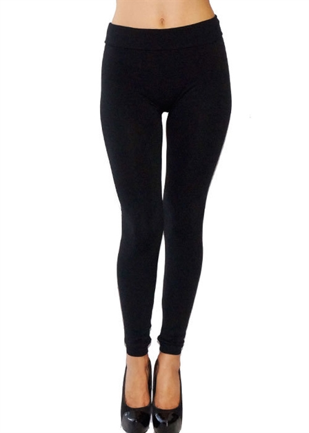 BLACK SOLID LEGGINGS PLUS - orangeshine.com