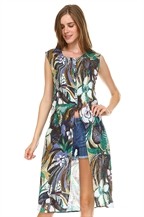GREENVIOLET FLORAL TUNIC DRESS - orangeshine.com