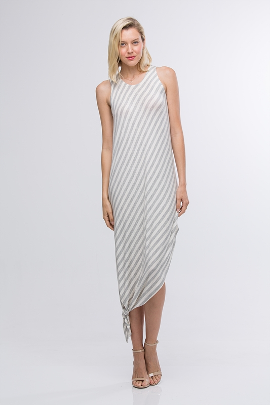 STRIPED HIGH LOW MAXI DRESS - orangeshine.com